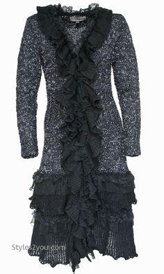 Pretty Angel Clothing Vintage Ebony Long Vintage Sweater In Gray S M L XL 73447