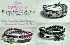 My Pal +Laura Miller  is having a Spring BOGO Sale  Buy any bracelet get 1 Free. BeadWorkBySmileyKit.etsy.com  Buy 1 and in the note to the seller let her know what one you'd like free.   Sale on NOW thur the end of the month.  Hurry in.    Some of my faves are in the photo.   #beadedjewelry   #bohochicstyle   #handmadejewelry   #jewelryforwomen   #sale