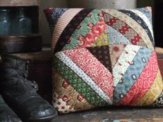 Primitive Hand Quilted Pillow  Scrappy by TreasuredPrimitives