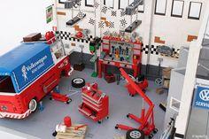 Lego, Volkswagen, Workshop, Type 2, Garage, Tools, Engine Crane