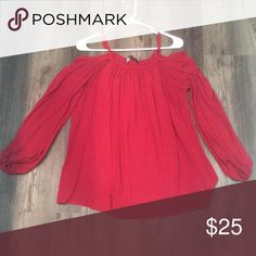 Zara Cold Shoulder Red Top Beautiful flowy red cold shoulder top in small! Just in time for NY or Valentines ☺️ Zara Tops Blouses