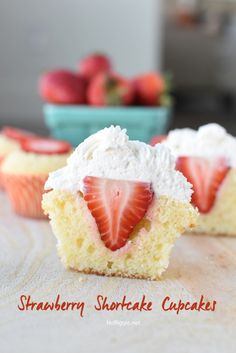 Celebrate strawberry season with Strawberry Shortcake Cupcakes with a full strawberry inside! Topped with sweetened whip cream and it's the perfect bite! Strawberry Shortcake Cupcake, Strawberry Cupcakes, Strawberry Desserts, Chocolate Strawberries, Covered Strawberries, Mini Cakes, Cupcake Cakes, Food Cakes, Cup Cakes
