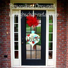 Christmas Door Hanger, Large Ornament Decor, Ornament Door Hanger, Christmas Door Hanger, CIJ. $40.00, via Etsy.
