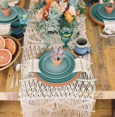 """Macrame Table Runner Handwoven Boho Decoration 13.8""""x 118"""""""