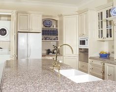 Lovely Bainbrook Brown Granite W/ Off White Cabinets