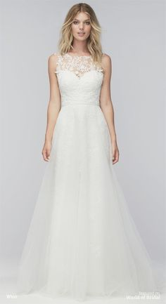 Delicate and romantic lace is the star of this ivory wedding dress with a softly fitted silhouette. On top, illusion tulle and all-over Cambria Venice lace forms a sheer panel over a sweetheart neckline. Gently curving with the body before falling into a sweep train, the skirt has an elegant swish-and-sway effect thanks to layers of soft netting over stretch satin lining. A gorgeous sweep train falls lightly to the floor and will look perfect trailing down the aisle. Perhaps the most unique…