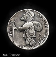 "Hobo Nickel 1935 Reverse Carving - "" Little Pilgrim "" by Pedro Villarrubia Hobo Nickel, Pilgrim, Coins, Carving, Ebay, Rooms, Pilgrims, Wood Carvings, Sculptures"