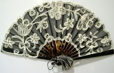 White Applique over Black Fan, Paris, circa 1905