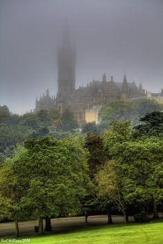 The Tower of Glasgow University in the mist in Kelvingrove Park,Scotland