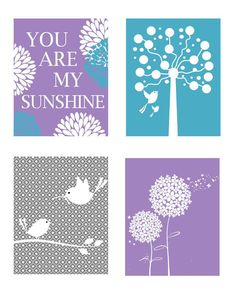 Nursery Quad Set of Four Coordinating 8 x 10 by LittlePergola