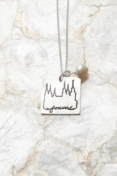 Forever Necklace in Cursive, Temple Necklace, LDS Necklace, Mormon Gifts, Temple Charms- wish I could get it in the Mount Timpanogos Temple!