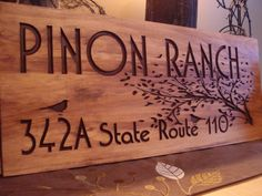 Rustic Wooden Ranch Cabin Address Sign Carved Address Plaque