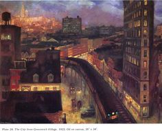 """John Sloan depicts a moody Village set apart from the rest of the city in his 1922 painting """"The City From Greenwich Village."""""""