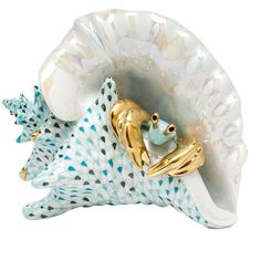 Herend Conch Shell With Crab Figurine ($1,875) ❤ liked on Polyvore featuring home, home decor, decor, filler, sea home decor, crab home decor, herend figurines, ocean home decor and blue home decor