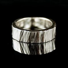 Saw Cut Textured Ring in Sterling Silver by NodeformWeddings, $145.00