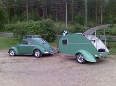 Beetle - 60 with teardrop trailer