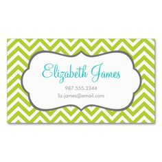Apple Green Chevron Business Cards. Make your own business card with this great design. All you need is to add your info to this template. Click the image to try it out!