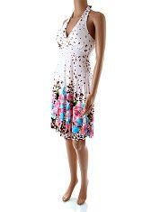 2125e5e3c142 Krátke biele letné šaty Fashion Garden Krátke biele padavé šaty so  zaväzovaním okolo krku a vystuženými