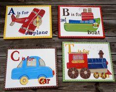 10% off Transportation Wall Art Canvas Boy's Room Decor Car, Train, Boat, Plane Custom Painted 11x14 made to match Listing Stats via Etsy.