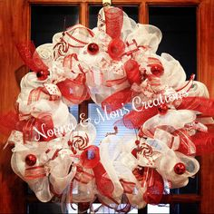 Candy Cane Holiday Deco Wreath by NonnaAndMonsCreation on Etsy
