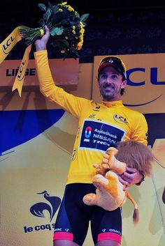 Fabian Cancellara (RadioShack-Nissan) in yellow at the Tour de France.