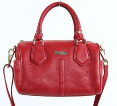 Cole Haan Topaz Red Pebbled Leathed Domed Satchel Handbag Bag Purse #ColeHaan #Satchel #Everyday