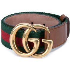 Gucci GG buckle belt (£240) ❤ liked on Polyvore featuring accessories, belts, brown, floral belt, genuine leather belts, gucci, brown belt and equestrian belts