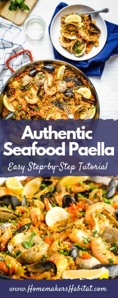 Seafood Paella with Shrimp, Clams and Mussels This gorgeous Seafood Paella is a showstopper main dish to serve for holidays and dinner parties but also easy enough to make for a family meal. Seafood Dishes, Seafood Recipes, Mexican Food Recipes, New Recipes, Dinner Recipes, Favorite Recipes, Ethnic Recipes, Seafood Paella Recipe, Spanish Seafood Paella