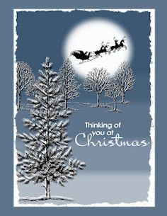 Christmas card in blues ... winter night scene with a full moon ... Stampin' Up! Lovely as a Tree images ... Santa in his sleigh flying through the sky ...