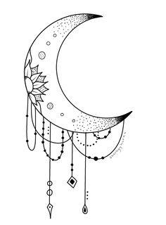Moon Tattoo Designs, Tattoo Design Drawings, Art Drawings Sketches Simple, Pencil Art Drawings, Easy Drawings, Small Hand Tattoos, Body Art Tattoos, Whats Wallpaper, Moon Mandala