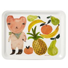 Beautifully printed melamine tea tray featuring Donna's watercolour illustration of a woodland squirrel on roller skates! Made in a small factory in Belgium.
