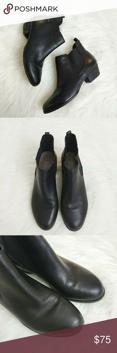 Vince Camuto Black Leather Booties Muse 8M Vince Camuto Black Leather Booties Muse 8M.  Great Pre -Owned Condition. One tiny scuff on inner side of boot. See all pics. No Trades. Reasonable Offers welcomed. 1 1/2 inch block heel. Vince Camuto Shoes Ankle Boots & Booties