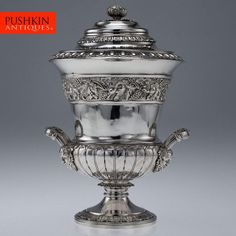 ANTIQUE 19thC GEORGIAN SOLID SILVER TROPHY CUP & COVER, EMES & BARNARD c.1813