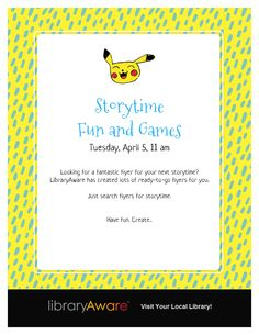 Storytimes can be fun to promote with LibraryAware's ready-to-go templates. Search flyers for storytime.