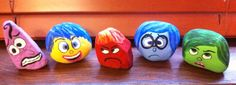 Rock Painting Painting the characters from the movie Inside Out: Joy, Sadness, Disgust, Fear, and Anger onto rocks.