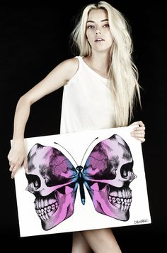 Canvas Faded Skull Butterfly Art – Lauren Moshi