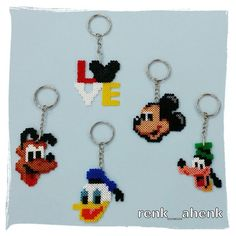 Disney, Mickey Mouse, Goofy, Donald Duck and Pluto keyrings Hama Mini Beads, Perler Beads by renk__ahenk