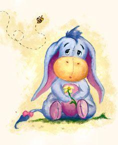 Winnie the Pooh - Baby Eeyore Illustration Art Print bt faedri Eeyore Pictures, Winnie The Pooh Pictures, Winnie The Pooh Quotes, Winnie The Pooh Friends, Fall Pictures, Eeyore Quotes, Winnie Pooh Dibujo, Winnie The Pooh Drawing, Disney Drawings