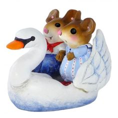 Swan Boat, miniature mouse, Valentine's Day Mice, Valentine's Day gift, love mice, romantic gift
