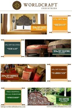 Worldcraft Industries features a wide selection of Indian inspired #furniture and furnishings, including bedding, daybeds, pillows, silk cushion covers, curtains, hand carved round ottoman furniture and more.  #CouponCode Ottoman Furniture, Wooden Furniture, Round Ottoman, Home Decor Items, Cushion Covers, Decoration, Industrial, Pillows, Daybeds