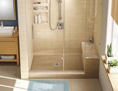 Kit: Redi Base Center Drain Single Curb Shower Pan, 36″D x 60″W x 17″H installed (Pan: 36″D x 48″W; Bench: 32″D x 12″W) $794