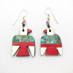 Antique Santo Domingo Thunderbird Pierced Earrings  c.1930~