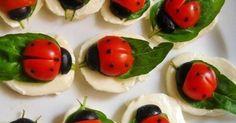 Mozzarella, tomatoes, basil and olive ladybugs