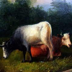 Antique 19th century Oil Painting of Sheep & Cattle, Signed / Dated