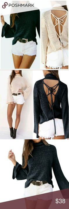 NEW! Chic Bell Sleeve Backless Lace Up Top Available in BLACK &  BEIGE   Backless Knit Sweater  Bell Sleeve  Backless Lace Up  Poly Blend  NWOT Directly From Vendor   Price is Firm  No Trades  Fast Shipping Moda Ragazza  Tops