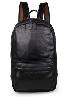 #Classic Black Leather #Backpack Style #serbags