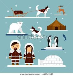stock-vector-vector-set-of-eskimo-characters-with-igloo-house-dog-white-bear-and-penguins-people-in-445541530.jpg (450×470)