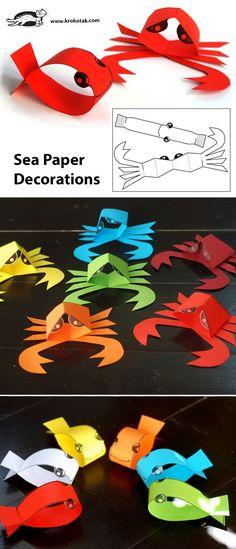 Sea paper decorations art pour les enfants, art n craft, fish paper craft, Ocean Crafts, Fish Crafts, Ladybug Crafts, Diy For Kids, Crafts For Kids, Art N Craft, Animal Crafts, Summer Crafts, Paper Decorations