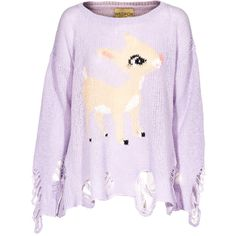 WILDFOX Little Helper Lennon Periwinkel Oversized sweater in destroyed... ($190) ❤ liked on Polyvore featuring tops, sweaters, shirts, jumpers, ripped sweater, heart print shirt, purple sweater, lilac sweater and heavy sweaters