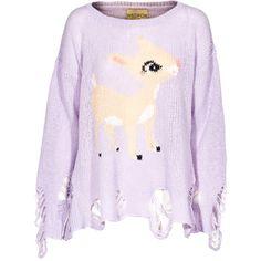 WILDFOX Little Helper Lennon Periwinkel Oversized sweater in destroyed... found on Polyvore